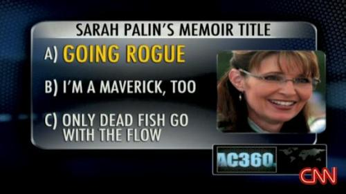 Palin's memoir 'going rogue' will be sold on November 25th